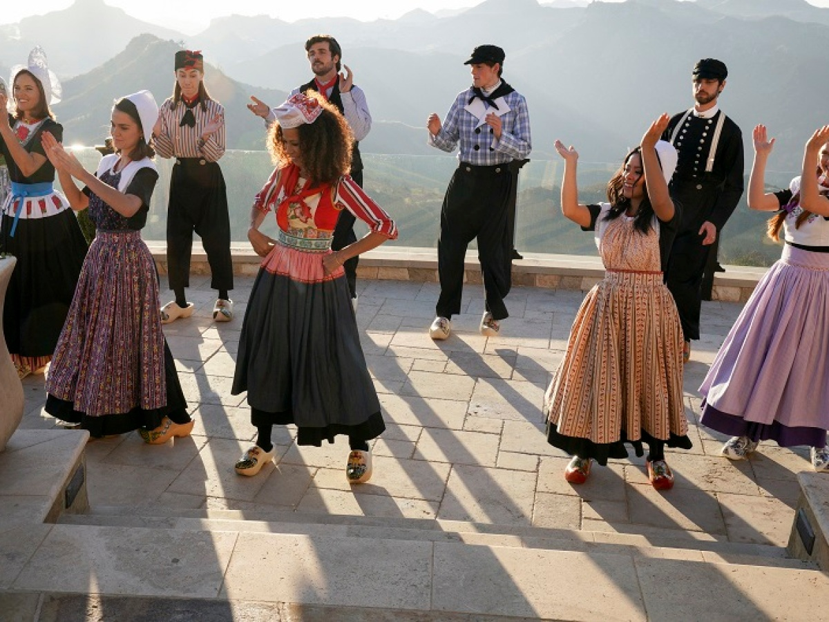 The Adams Fosters and the Hunters practice Dutch folk dancing.