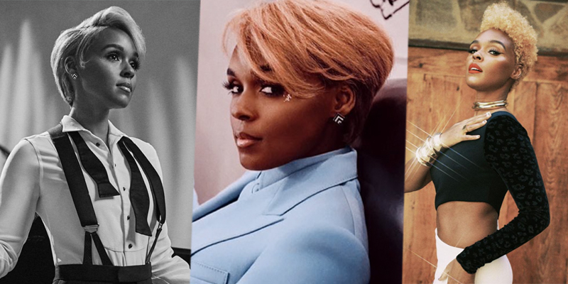 A three-split collage of Janelle Monáe: In the first, she is in black and white in a tuxedo, in the second she is in a blue suit with a close up of her face, in the third she is in a black and white gown with red lipstick