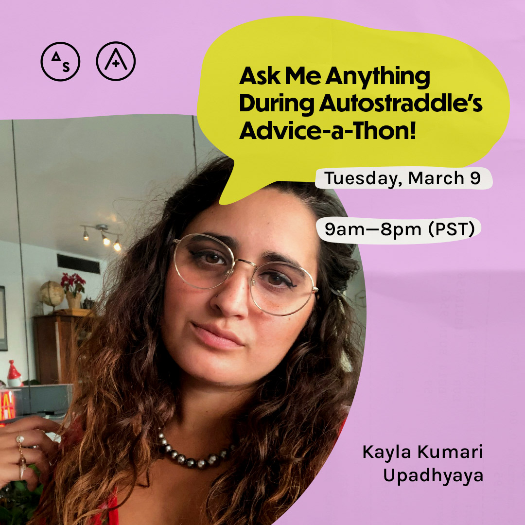 Kayla is wearing round glasses with long curly brown hair, a dark silver necklace and a red shirt, the copy reads: Ask Me Anything During Autostraddle's Advice-a-Thon! Tuesday March 9th, 9am — 8pm PST