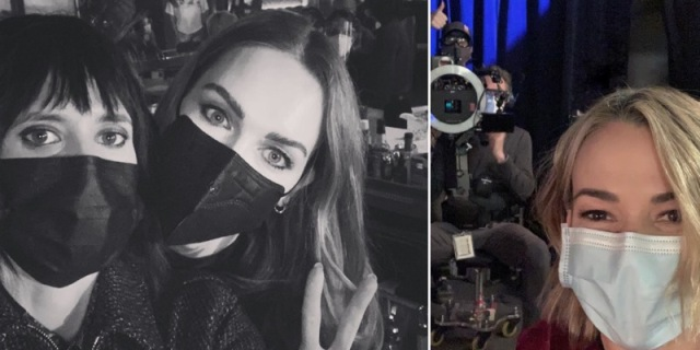 In a two fold collage, left to right: Jamie Clayton peaks behind Kate Moening's shoulder, both are wearing masks, in a black and white photo. Then Leisha Hailey is in a color photo in a blue mask, she's in front of a film camera.