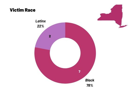 A circle chart showing the race of anti-trans homicides from 2017-2020. 78 percent are Black, 22 percent are Latinx.