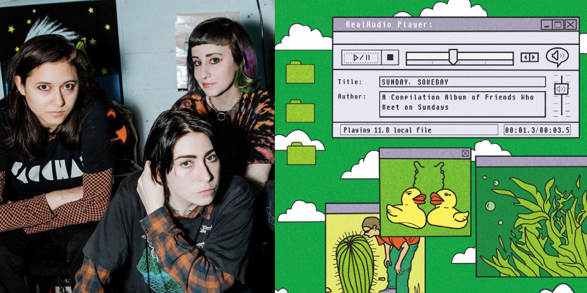 """A collage of the band Potty Mouth (three people in dark shirts layered over long sleeve tops), it's next to the covert of """"Sunday Someday,"""" which is styled like a 1990s Windows computer desktop"""