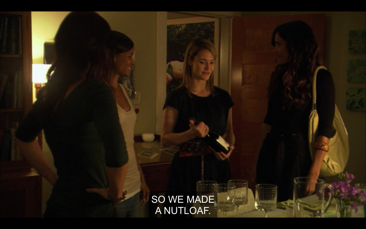 """At the dinner table, Alice says """"we made a nutloaf"""""""
