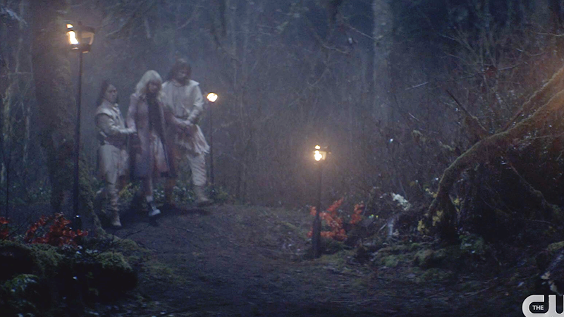 Alice being led into woods