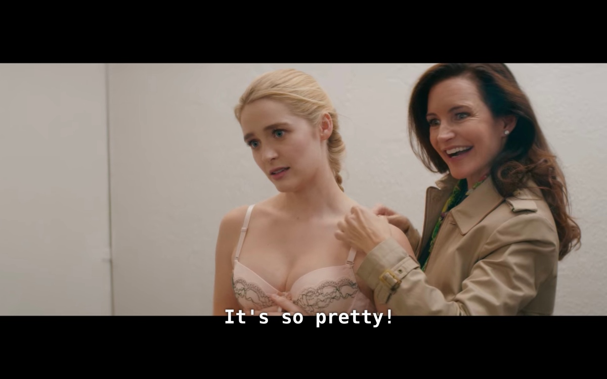 """in the dressing room, Grace in a bra and Mary saying """"It's so pretty!"""""""