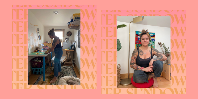 Camila, creator of The Pause Project, poses in two different photos: one she is standing and sewing, the other she is kneeling and facing the camera. Both images are on a peach background.