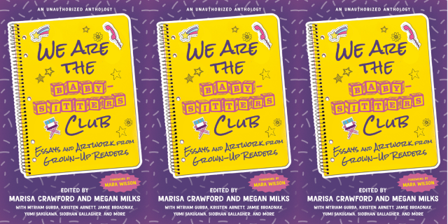 the cover of the new babysitter's club anthology repeated three times, a yellow book on a purple background