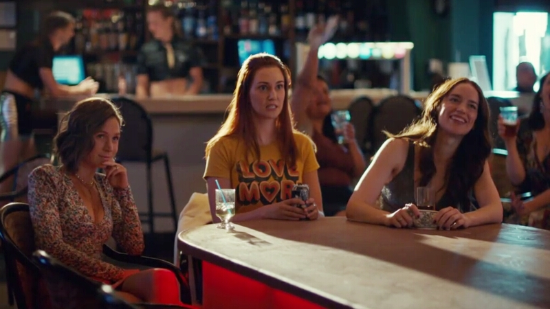 Wynonna, Nicole, and Waverly look up at a stage at out-of-shot strippers, Wynonna drunk and loving it, Waverly a bit bemused, Nicole like she's not quite sure how she got here.