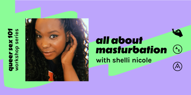 """A photo of Shelli Nicole and then also the text: """"all about masturbation with shelli nicole"""""""