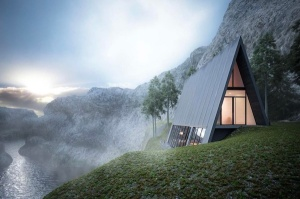 beautiful house on a cliff