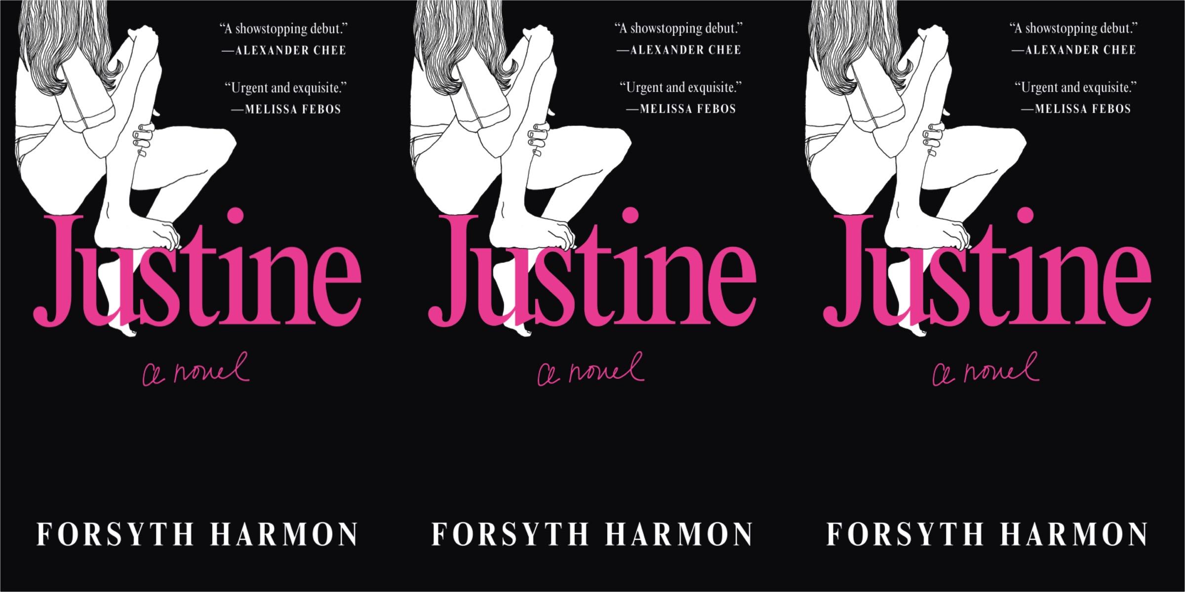 Trois images répétées de la couverture de JUSTINE de Forsythe Harmon