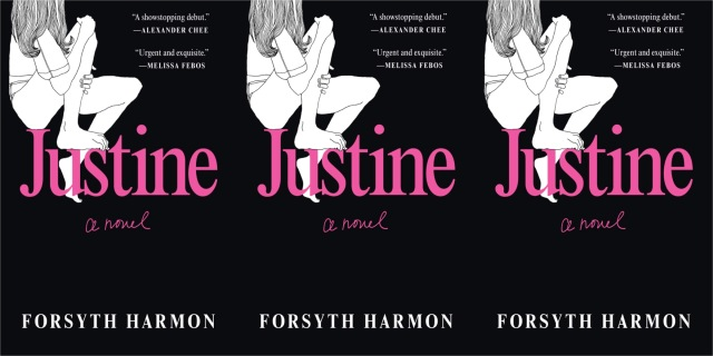 Three repeating images of the cover of Forsythe Harmon's JUSTINE