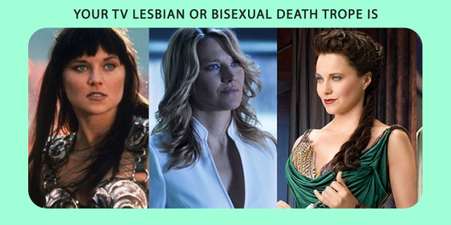 A graphic including 3 images of Lucy Lawless in the role of a lesbian or bisexual, just before dying, presumably.