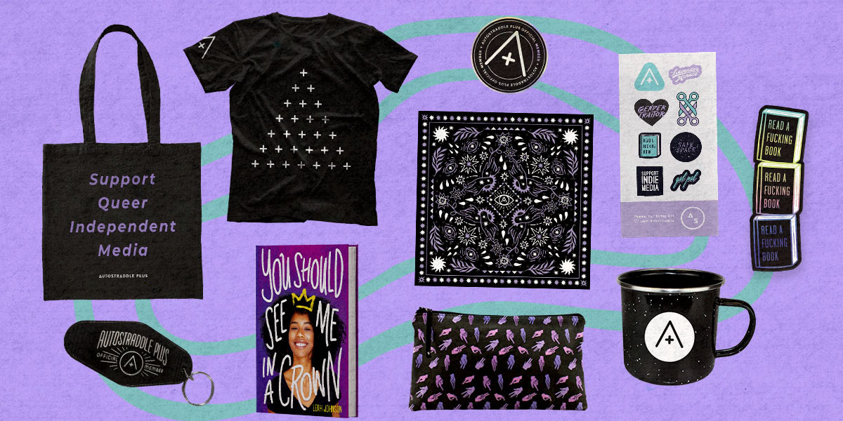 A look at all the perks that come with platinum. Gold perks that come with Platinum too include choice of tee or tote, an A+ member sticker, an A+ bandanna, and an A+ sticker sheet. Platinum also comes with a hand-sewn bag, keychain, camping mug, bookmark, and choice of queer book!