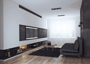 black and white minimalist apartment like the one in American Psycho