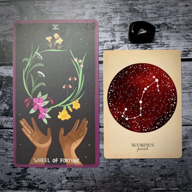 A photo of the tarot card for Wheel of Fortune and the astrological card representing Scorpio, along with a small crystal