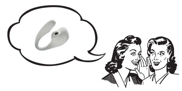 Two illustrated people whispering to one another; above their heads a speech bubble shows A photo of the Osé 2, a light gray toy with a large, bulbous round end that includes a suction area for air pressure and a curved arm looping back around and above it for internal stimulation.