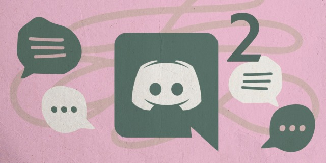 The discord server logo and a number 2 against a pink background