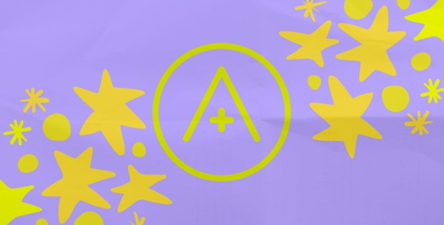 The A+ logo and a field of stars in gold against a lavender background