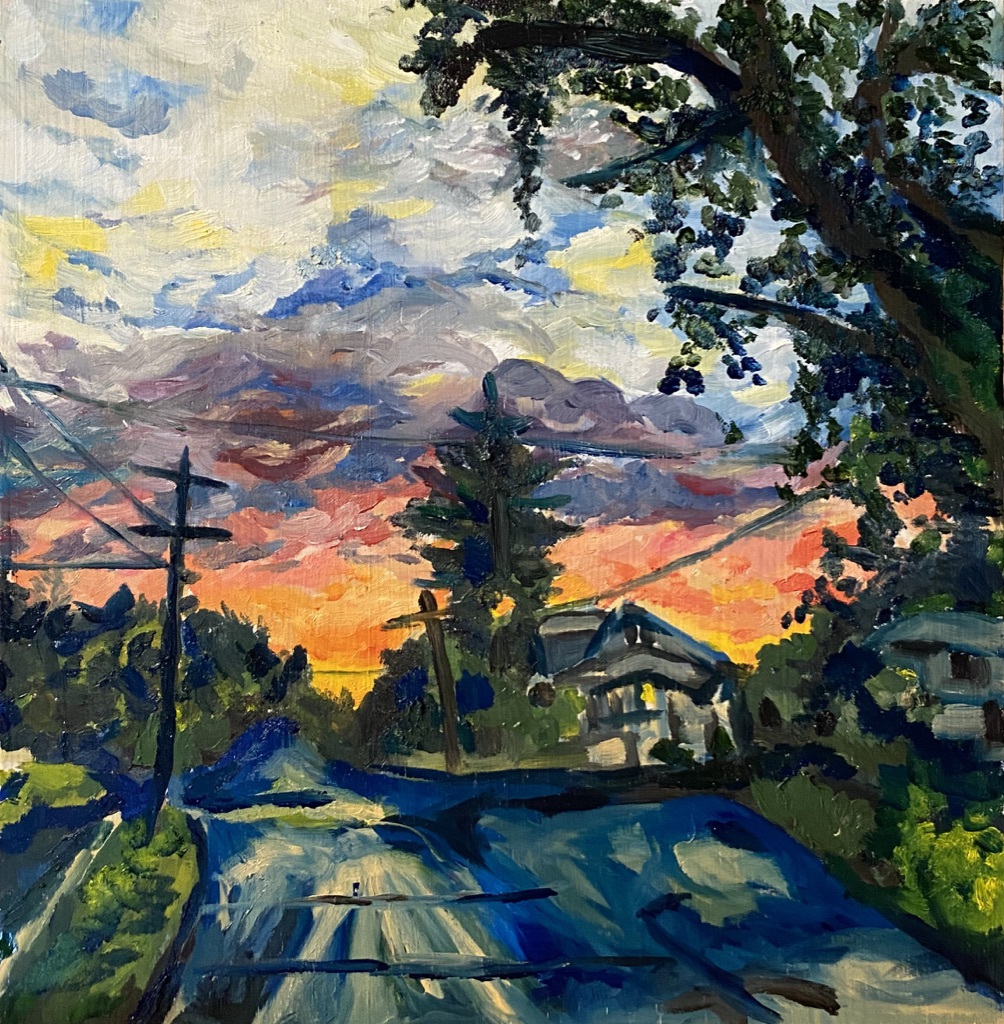 Oil painting of a beautiful landscape with tall trees and an orange sunset