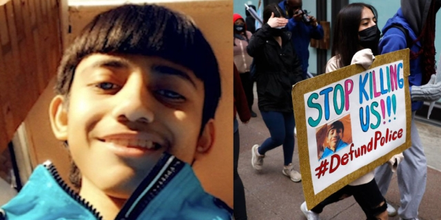 A collage of Adam Toledo next to a sign of a protestor who is protesting his death.