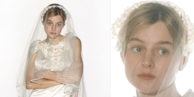 """Emma Corrin from """"The Crown"""" is in a wedding dress against a white background. In a second image, she is still in a wedding dress against the same background, but it is a close up of her face."""