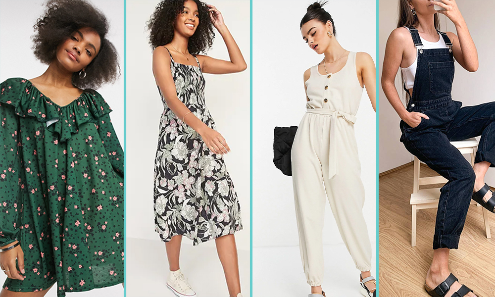 Four images in a collage: A green babydoll dress, a white and black flower patterned dress, a neutral off-white jumpsuit, and black overalls.