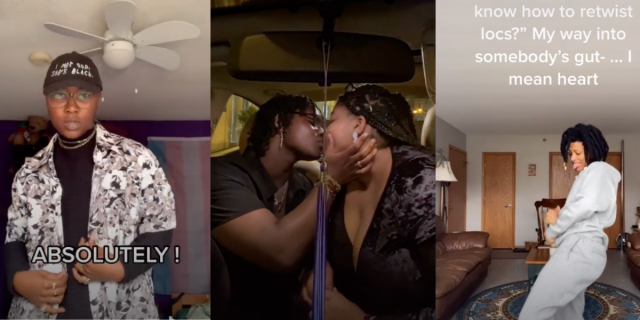 "Image shows 3 separate images in one frame. In the first there is a person wearing a black hat with white text, a black shirt, and a multi print black and white shirt over top. There is the word ""absolutely"" overlaid. The middle picture there are two people kissing one is grabbing the others face and they are in a car. In the third photo there is a person dancing in a gray two piece sweatsuit with the words ""...my way into somebodys guts I mean heart"" overlaid."