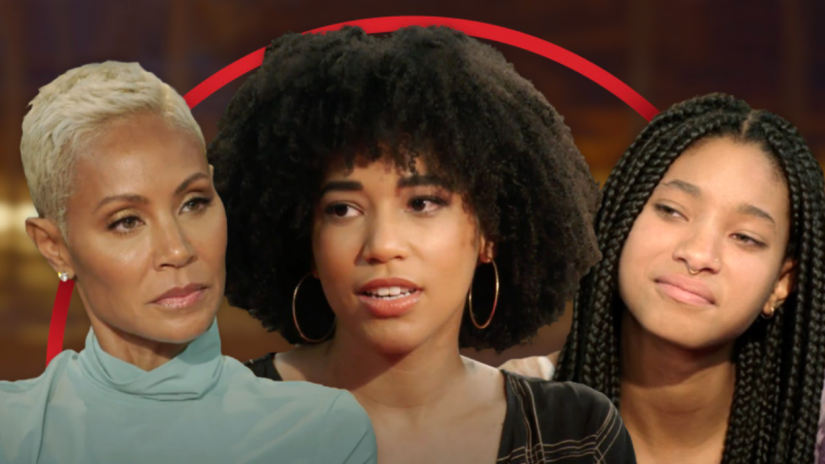 Image shows three black people (Jada Pinkett Smith, Gabrielle Smith and Willow Smith) close up with a red arc behind them.