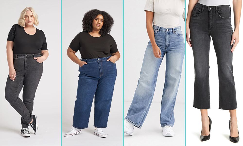 There are four people in jeans against a white background in this collage. The first is a femme person in black straight leg jeans, the next is a person with shoulder length hair in wide length pants, the third is a close up of light blue jeans in a flare, and the last are black cropped capri jeans.