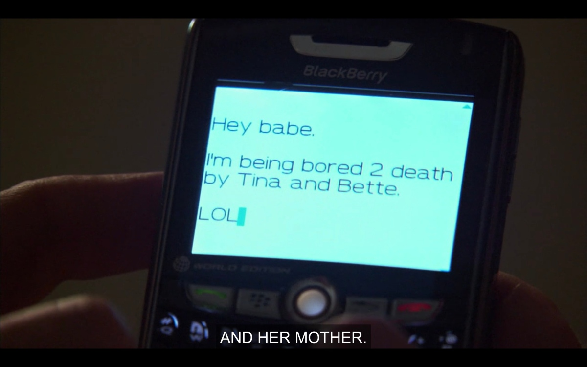 Joyce's phone, texting Phyllis that she's bored to death