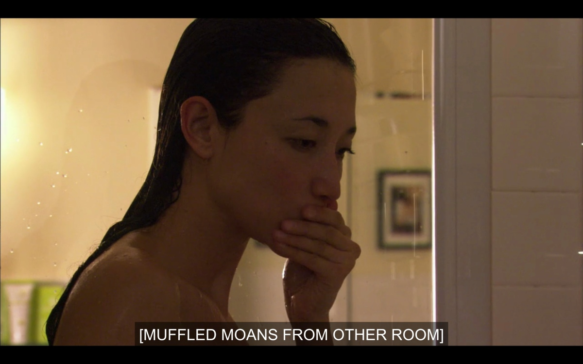 """Jamie just got out of the shower and is listening to """"muffled moans from the other room"""""""