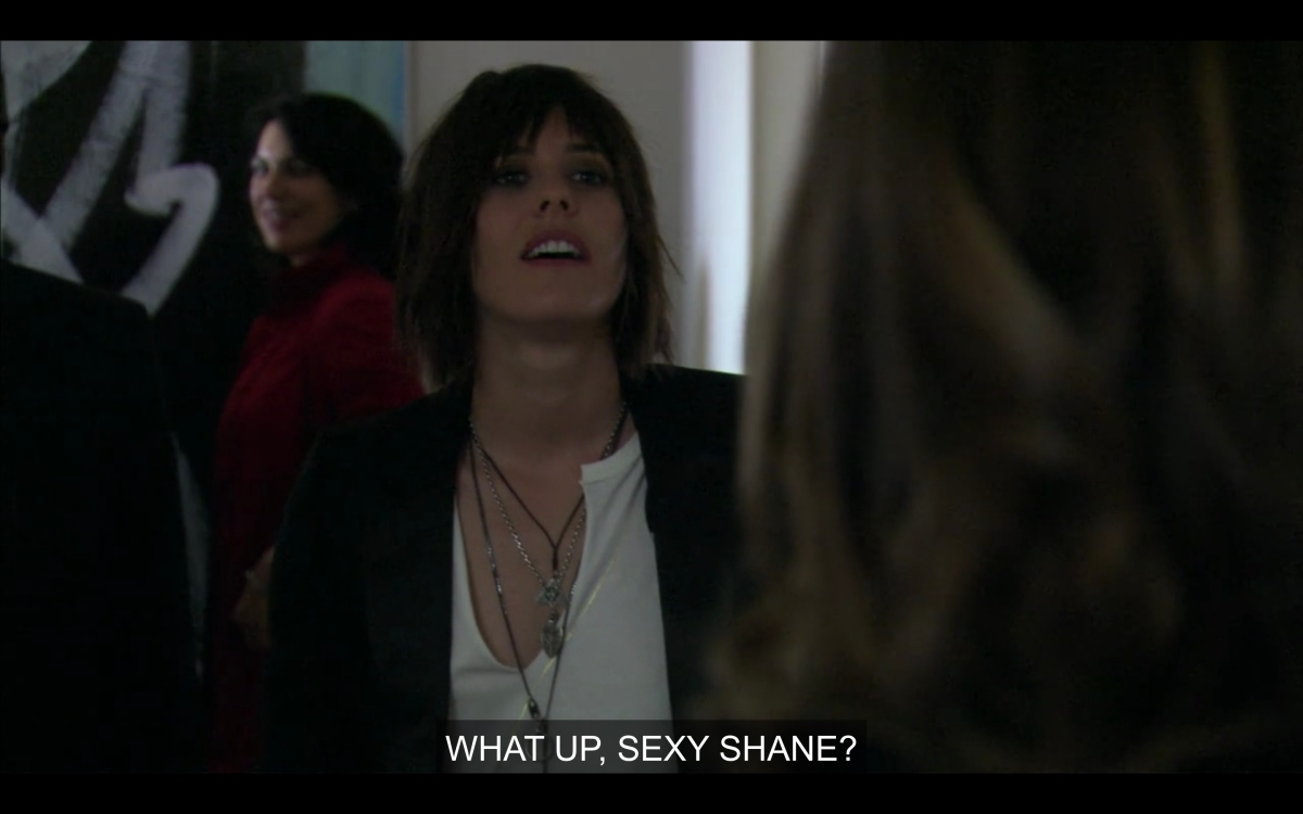 """shot of Shane as Nikki says """"what up, sexy Shane?"""""""