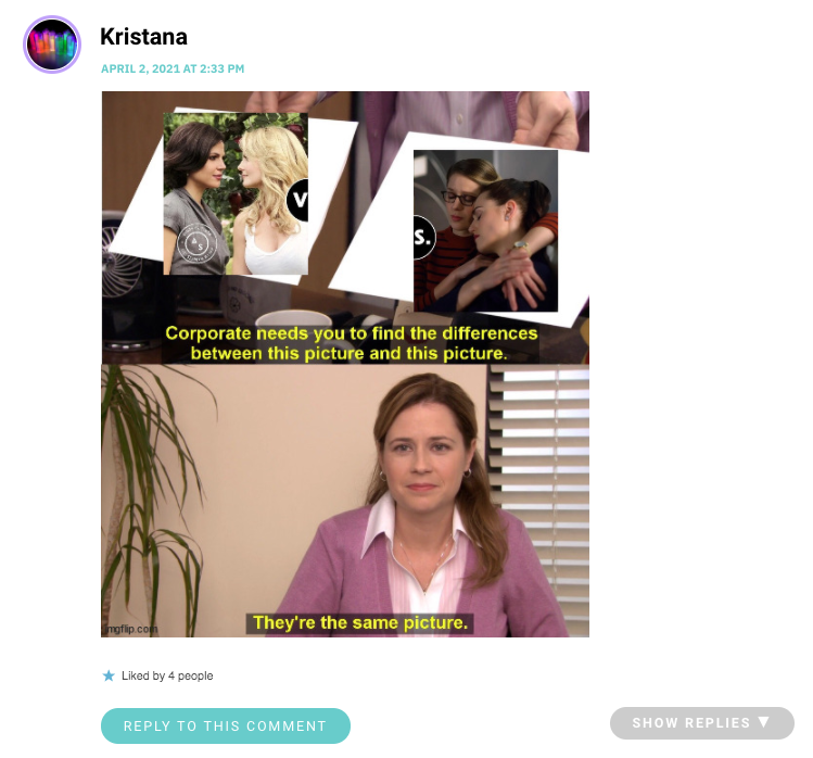 """Kristana posted the meme where Pam from the Office says """"theyre the same picture,"""" and it's the OUAT couple and Lena/Supergirl"""