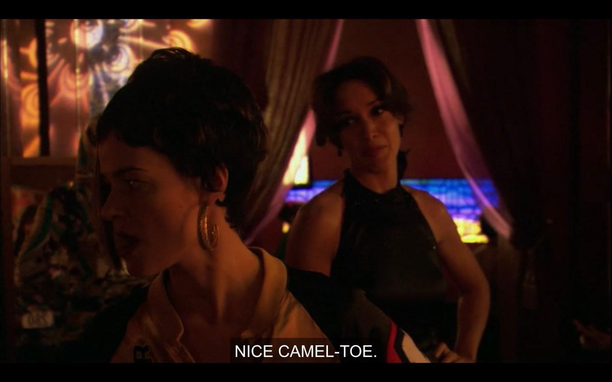 "Bette tells Alice ""nice camel toe"" as Alice is walking away from her"