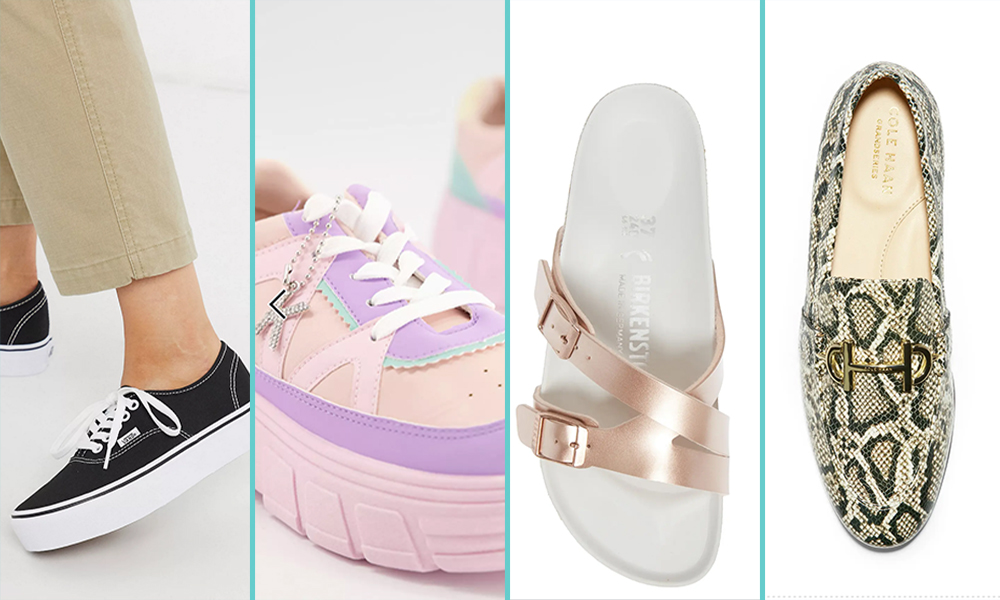 A close up of platform shoes: First is a pair of black and white van sneakers, then baby pink platform sneakers, then a pair of Birkenstocks, and finally a pair of loafers with a pattern that looks like snakeskin.