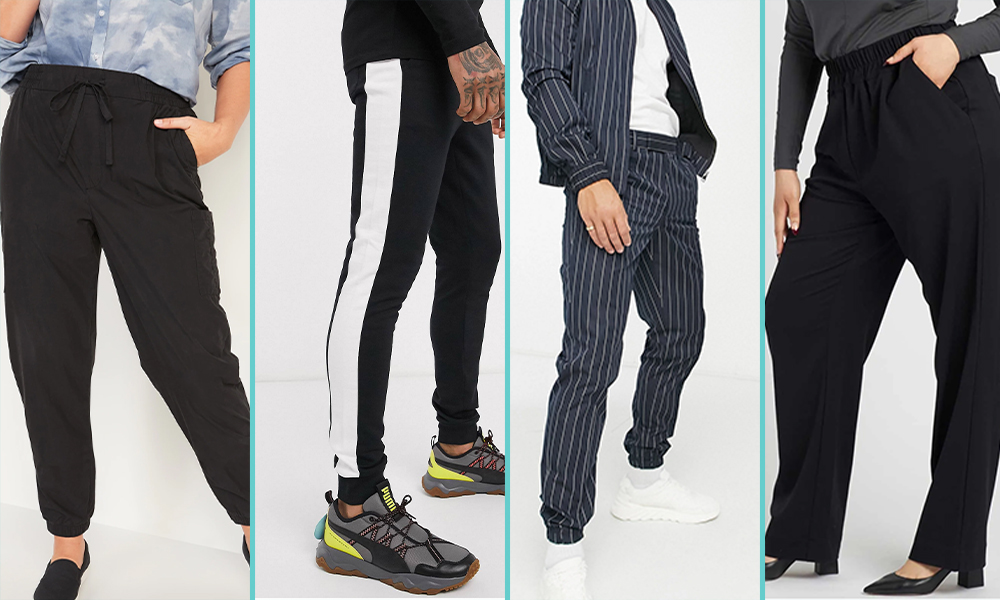 "This collage has four people in ""soft pants"" — the first are plain black pants, the second are black paints with a white stripe going up the side, the third are navy blue pinstripes, and the fourth are wide leg black cloth pants."