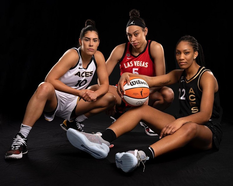 Aces' stars Kelsey Plum, Dearica Hamby and A'ja Wilson show off the Las Vegas H-E-R Collection.