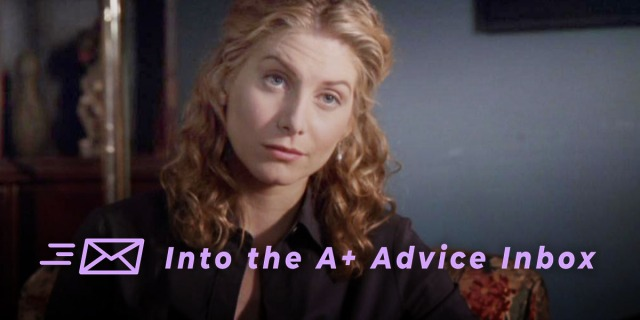 A therapist from the show ER leans in toward the viewer.