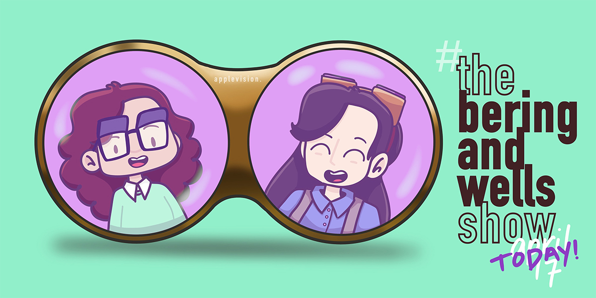 A drawing of Helena Wells and Myka Bering inside a pair of flip glasses with the caption The Bering and Wells Show