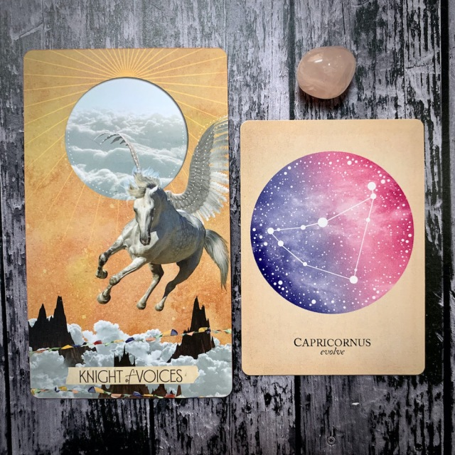 A tarot card for the Knight of Voices featuring a white pegasus flying through a golden sky, a constellation card reading Capricornus: Evolve, and a translucent pink crystal.