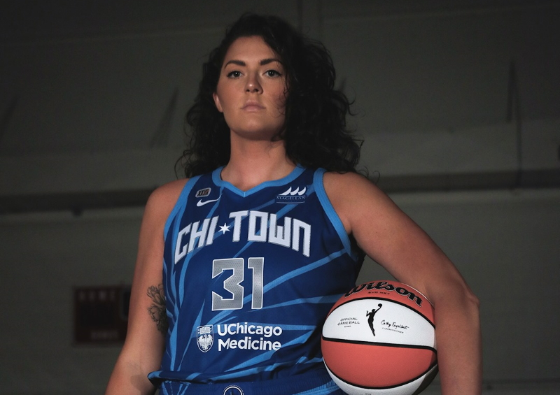 Chicago's Stefanie Dolson shows off the Sky's new glass shattering Rebel Edition jersey.