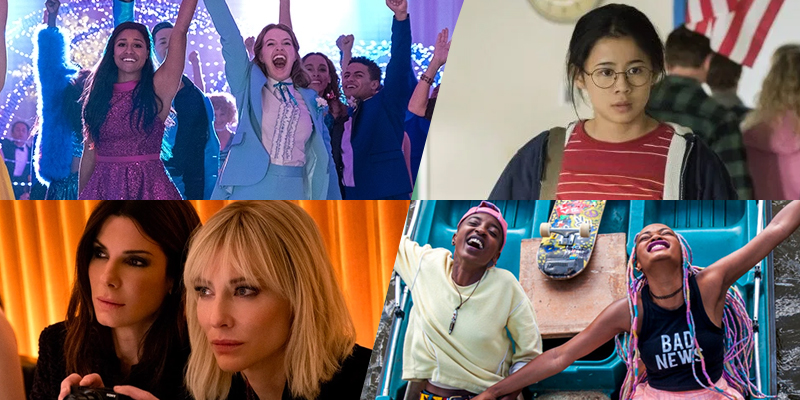 A collage of four good first date movies for lesbians from the list: The Prom, The Half of It, Ocean's 8, Rafiki