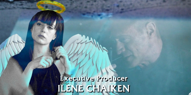 Jenny Schecter with angel wings and a halo superimposed over a screenshot of Law & Order: Organized Crime with the caption: Executive Producer Ilene Chaiken
