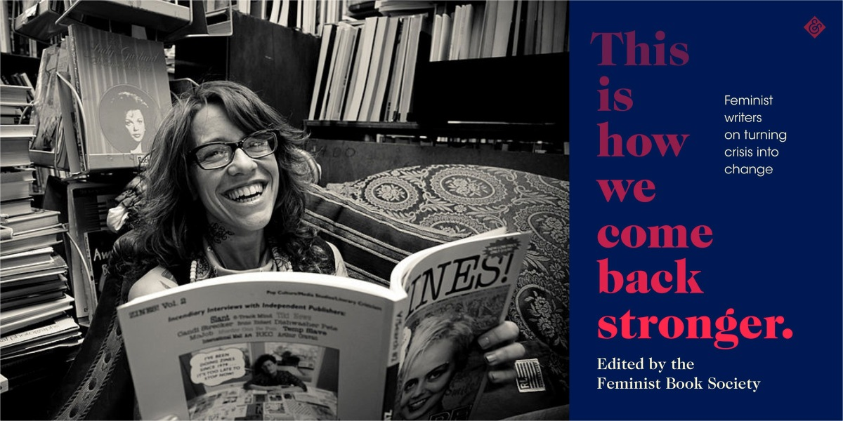 A black-and-white photo of Michelle Tea seated in a room full of books with a large-format book in her hands, leaning back and laughing; the photo is juxtaposed with the cover of the book This Is How We Come Back Stronger