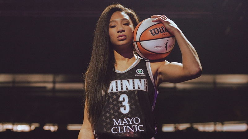 Newly acquired Lynx Forward Aerial Powers shows off Minnesota's new Rebel Edition jersey.