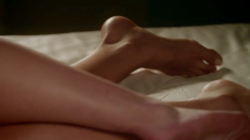 Alison and Emily's feet touching