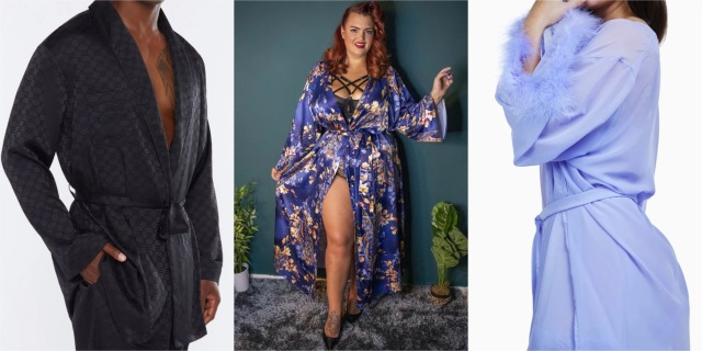 A collage of three models wearing robes, from L to R, a men's smoking jacket, a flowing satin peacock-patterned robe, and a feathered lilac chiffon robe