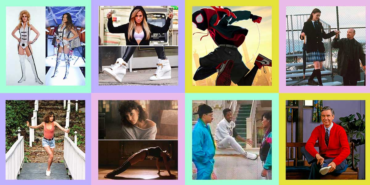 A collage of eight of the shoe results in this quiz: Barbarella, JLo in Hustlers, Miles Morales, Princess Diaries, Baby from Dirty Dancing, Jennifer Beals in Flashdance, Dwayne Wayne in a Different World, Mr. Rogers