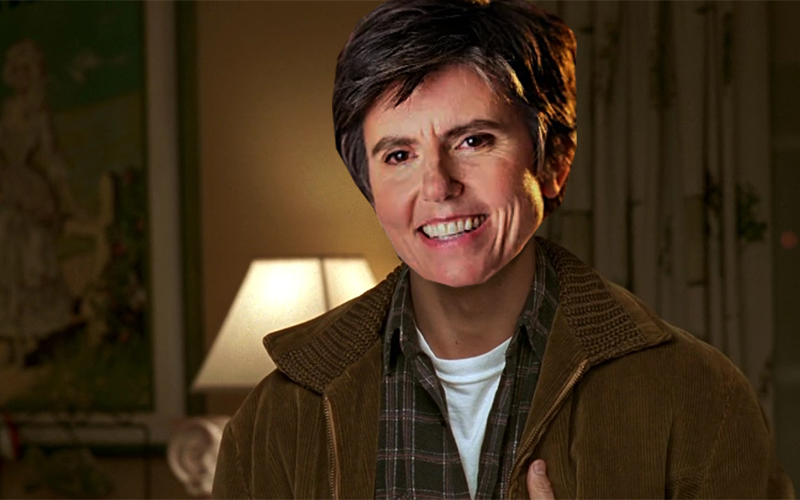 Tig Notaro Photoshopped into Jerry Maguire wearing a flannel and leather jacket
